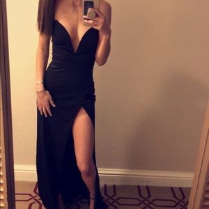 ASOS strapless high slit formal dress